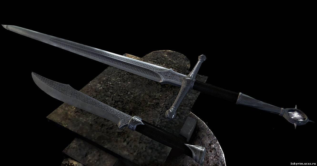 скачать моды на скайрим на двуручные мечи